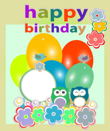 birthday party card with cute birds and owl on trees and flowers photo