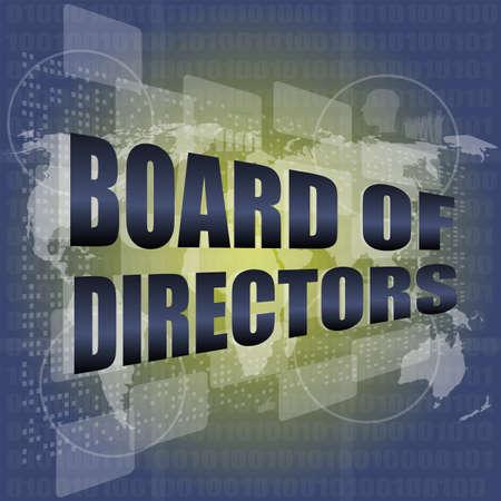 Conseil d'administration mots sur fond d'écran numérique avec la carte du monde Banque d'images - 25015810