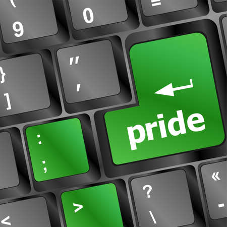 pride button on computer keyboard pc key Stock Photo - 25059364