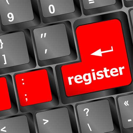 voter registration: Closeup of register key in a modern keyboard