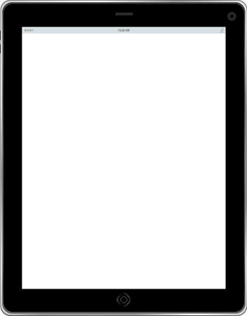Tablet computer. Black frame tablet pc with white screen. isolated of background Banco de Imagens - 25057159