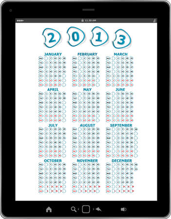 Calendar for 2013 in tablet PC isolated on white background photo