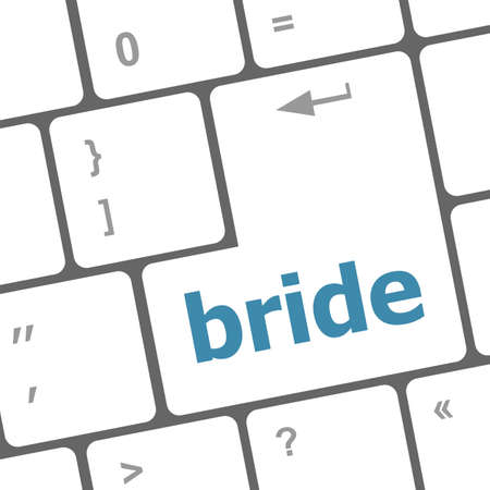 Computer keyboard with the text bride photo