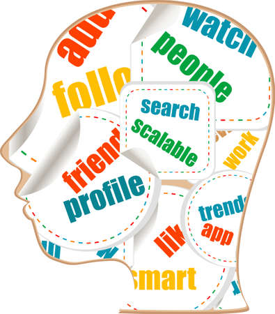 social media words on man head - internet concept photo