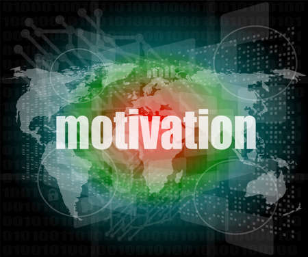 words motivation on digital screen, job and business concept photo