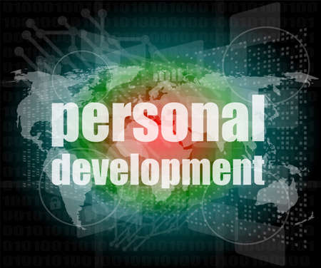 word personal development on digital screen 3d photo