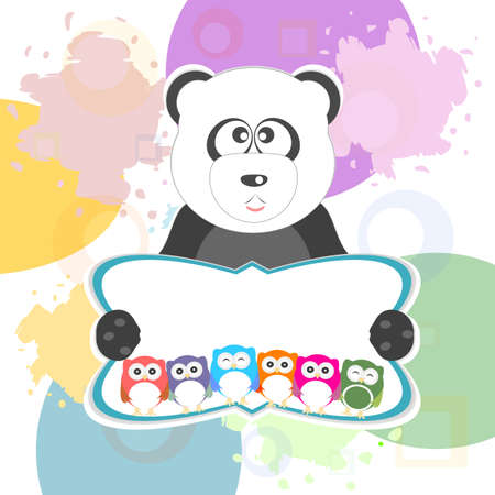 birthday party elements with cute owls and panda photo