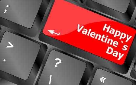 happy valentine s day button on the keyboard - holiday concept photo