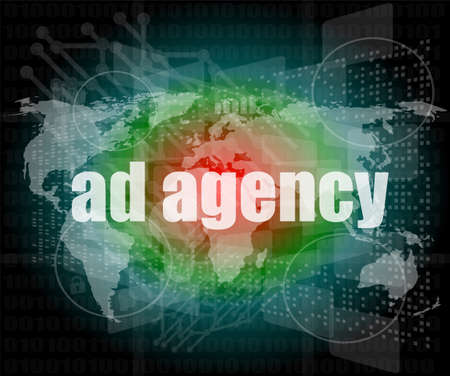 Pixeled word Ad agency on digital screen 3d render Stock Photo