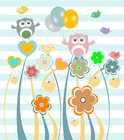 Cute kids background with flowers, owls and birds photo