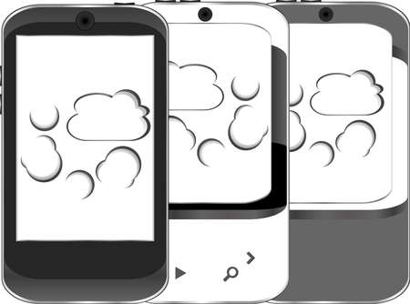 Smart phone set with cloud computing symbol on a screen Stock Photo