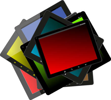 Set of tablet pc computers Stock Photo