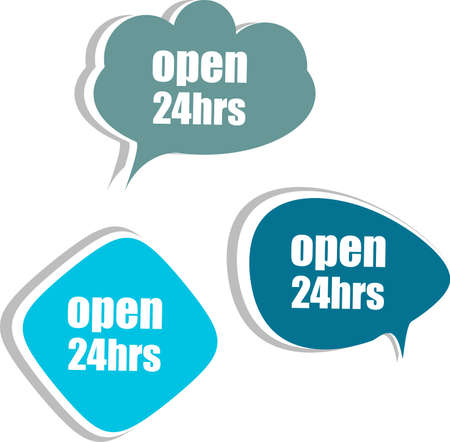 open 24 hours word on modern banner design template. set of stickers, labels, tags, clouds photo