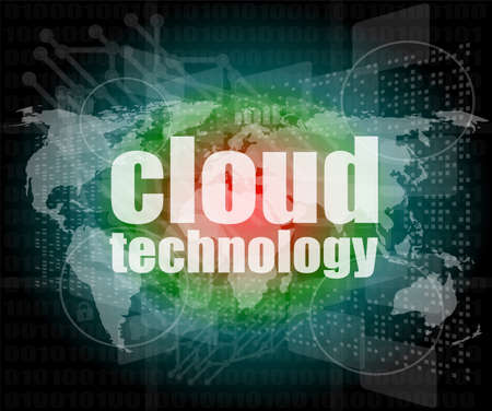 words cloud technology on digital screen, information technology concept photo