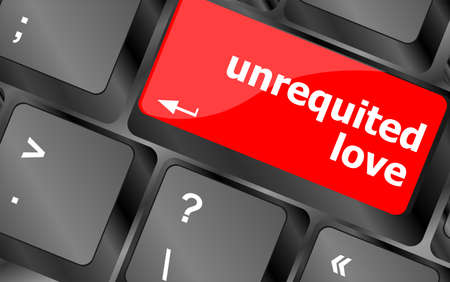 unrequited love: el amor no correspondido de la tecla o el teclado que muestra el concepto de citas por Internet