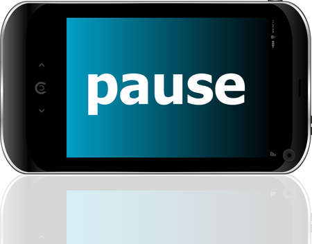 business concept: smartphone with word pause on display Reklamní fotografie