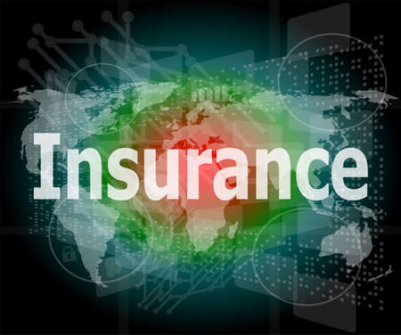 The word insurance on digital screen, business concept photo