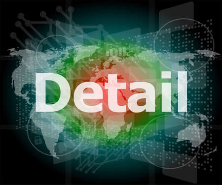 The word detail on digital screen, business concept photo