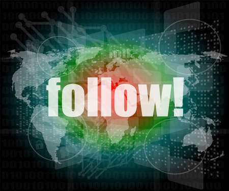 Social media concept: words Follow on business digital background photo