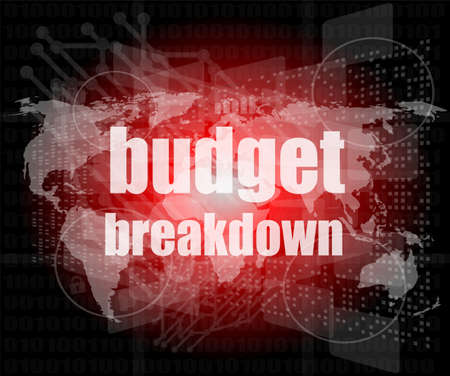 Business concept: words Budget breakdown on digital screen, 3d photo