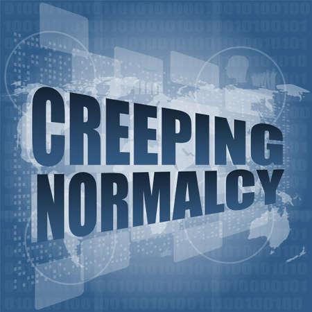 creeping: strisciante parola normalit� sullo schermo digitale affari