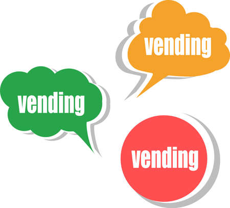 vending word on modern banner design template. set of stickers, labels, tags, clouds photo