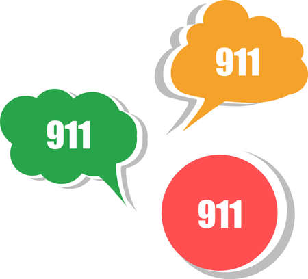 911 on modern banner design template. set of stickers, labels, tags, clouds photo