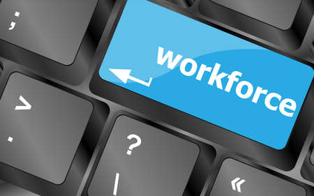 offshoring: Workforce keys on keyboard - business concept
