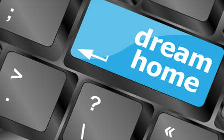 estate: Computer keyboard with dream home key - technology background Stock Photo