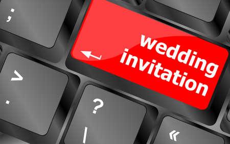 Wedding invitation word button on keyboard key photo