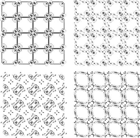 Set of monochrome geometric seamless patterns. background photo