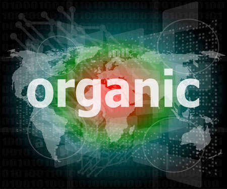 Marketing concept  words organic marketing on digital screen photo