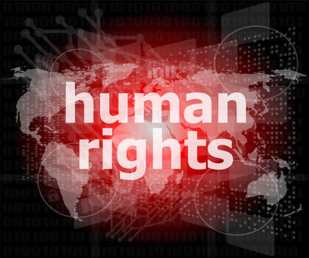 Law concept  words human rights on business digital background photo