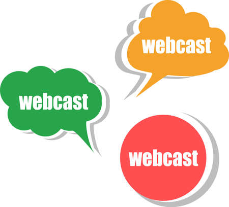 webcast: webcast word on modern banner design template. set of stickers, labels, tags, clouds