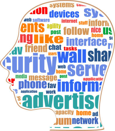 bookmarking: the silhouette of his head with the words on the topic of social networking