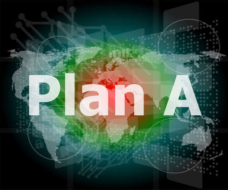 The word plan a on digital screen, business concept photo