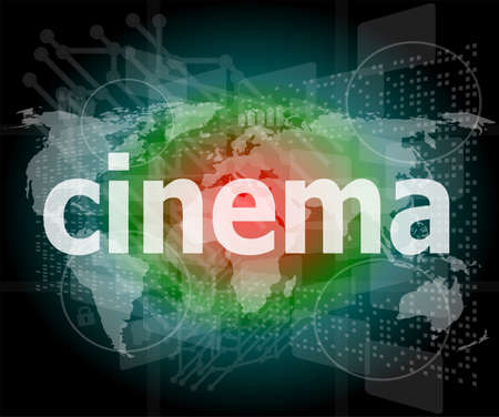 cinema word on digital screen with world map photo