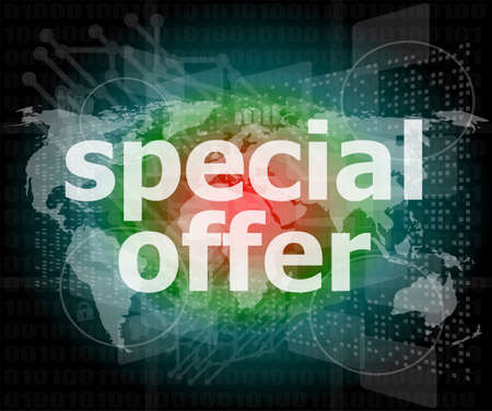 special offer text on digital screen photo