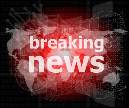 news background: News and press concept: words breaking news on digital screen Stock Photo
