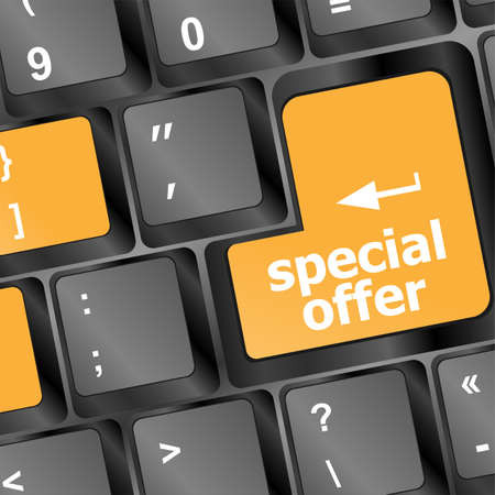 special offer button on computer keyboard keys photo