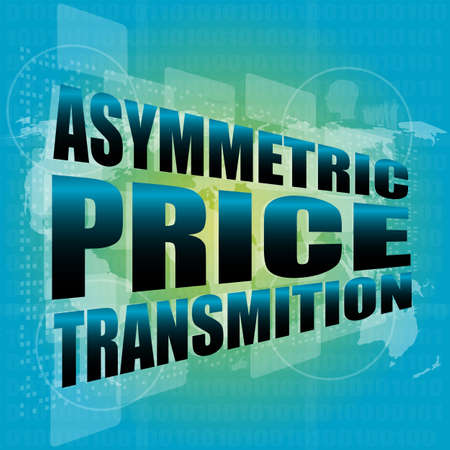 asymmetric: business concept, asymmetric price transmition digital touch screen interface