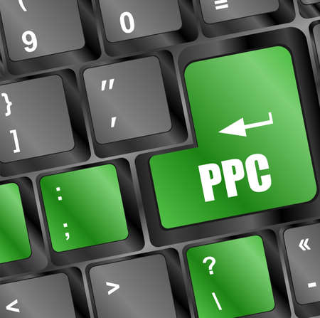 ppc: PPC (Pay Per Click) Concept. Button on Modern Computer Keyboard