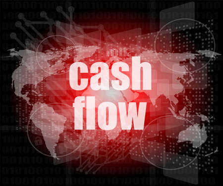 business words cash flow on digital screen showing financial success photo