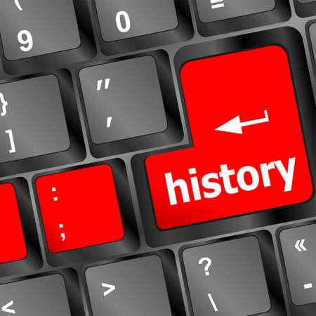 cronologia: botón de la historia en clave de pc teclado de la computadora