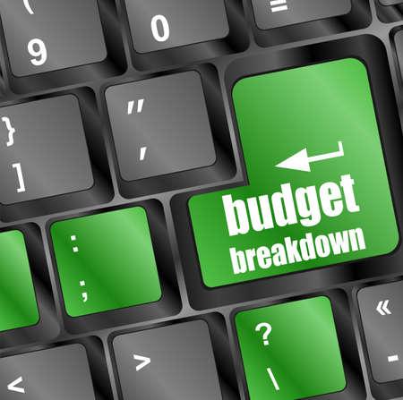 installment: budget breakdown words on computer pc keyboard keys Stock Photo