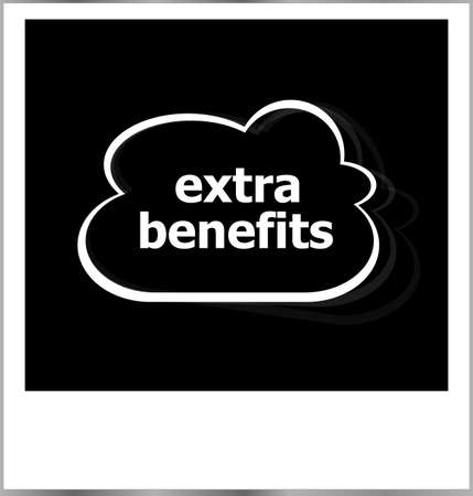 extra benefits word business concept, photo frame isolated on white photo