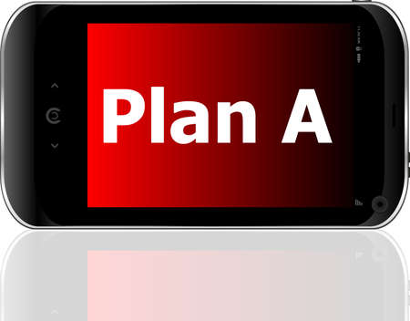 plan a word on smart mobile phone with blue screen photo