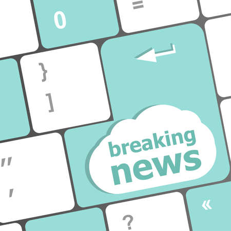breaking news button on computer keyboard pc key photo