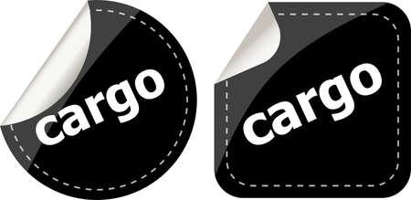 cargo word stickers set, web icon button photo
