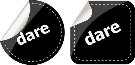 dare: dare word on black stickers web button set, label, icon